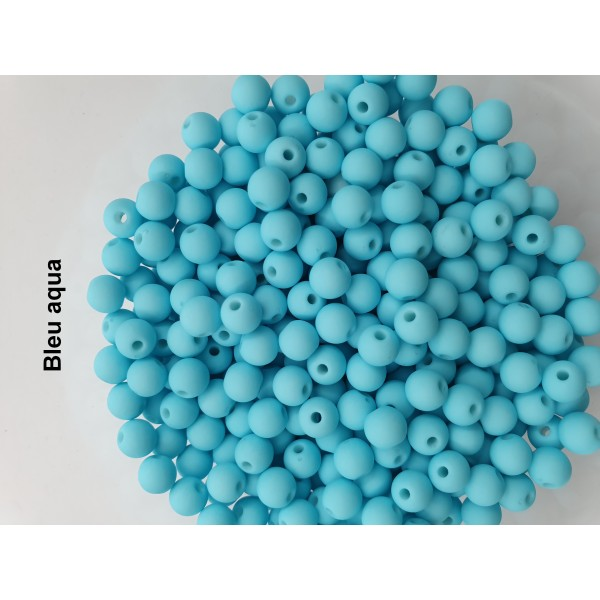 Lot de 200  perles acryliqes 6mm de diametre bleu aqua - Photo n°1