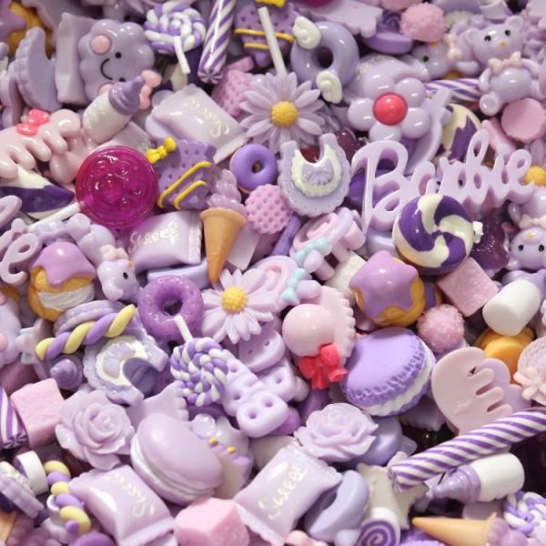 100pcs Mixtes Violet Décors de Desserts de Pâtisserie, Gâteau Mélangé Mini Alimentaires Pour Enfants - Photo n°1