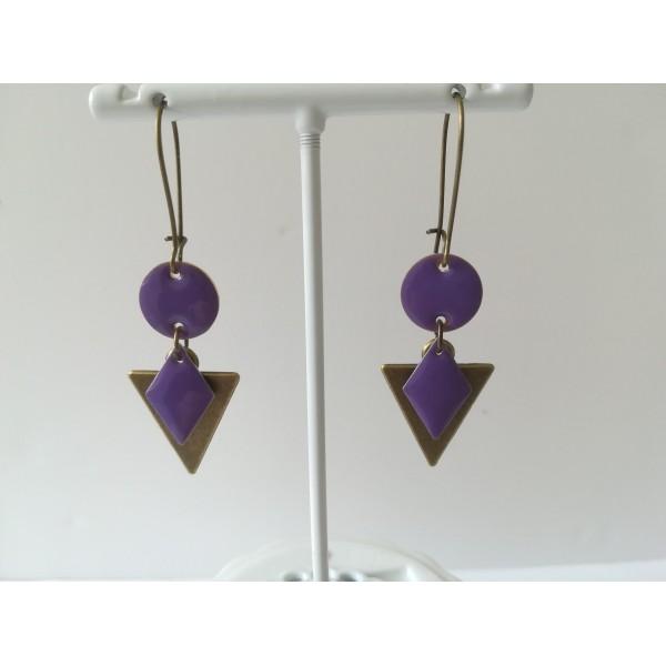 Kit de boucles d'oreilles pendentif triangle bronze et sequins émail violet - Photo n°2