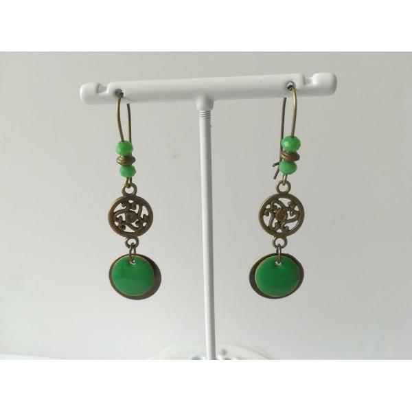 Kit de boucles d'oreilles connecteur bronze et sequin émail vert - Photo n°2