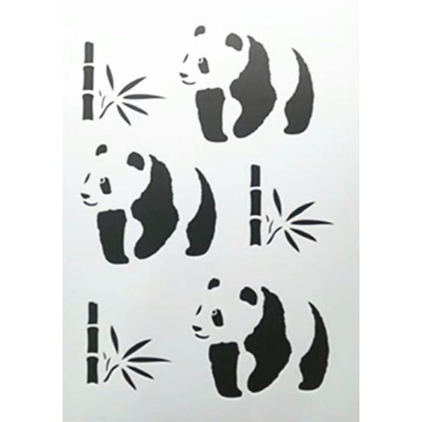 POCHOIR PLASTIQUE 30*21cm : Panda et bambou - Photo n°1