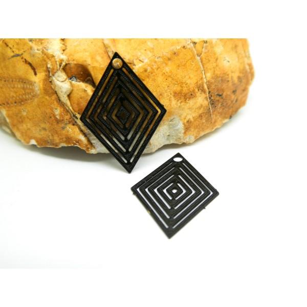 4 Estampes filigranées losange 15*20mm Noir - Photo n°1