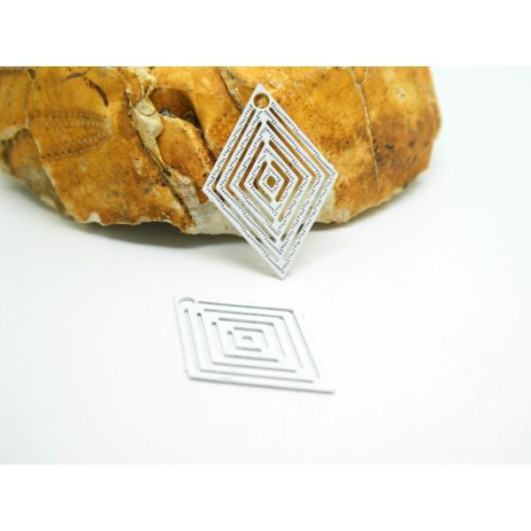 4 Estampes filigranées losange 15*20mm Blanc - Photo n°1