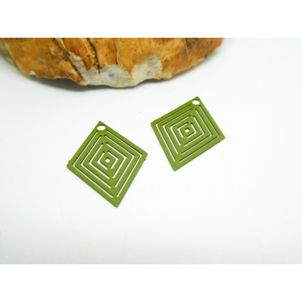 4 Estampes filigranées losange 15*20mm Vert Kaki - Photo n°1