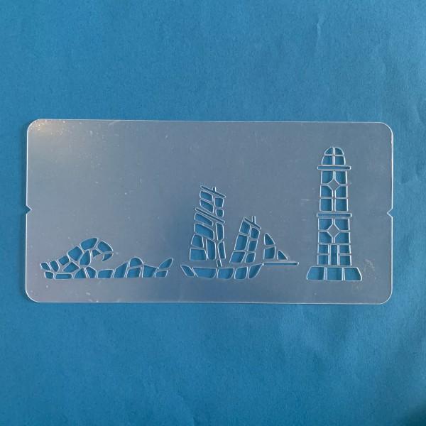 Pochoir 3D 150x300 mm sur le thème du bord de mer - Photo n°1