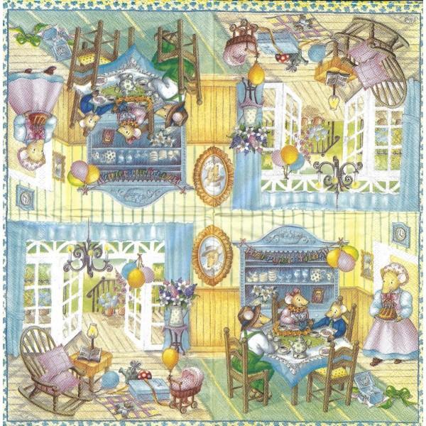 4 Serviettes en papier Famille Mousebergs Anniversaire d'Emily Format Lunch Decoupage M-L-0301 IHR - Photo n°2