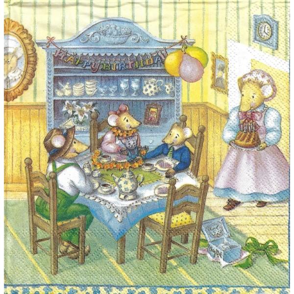 4 Serviettes en papier Famille Mousebergs Anniversaire d'Emily Format Lunch Decoupage M-L-0301 IHR - Photo n°1