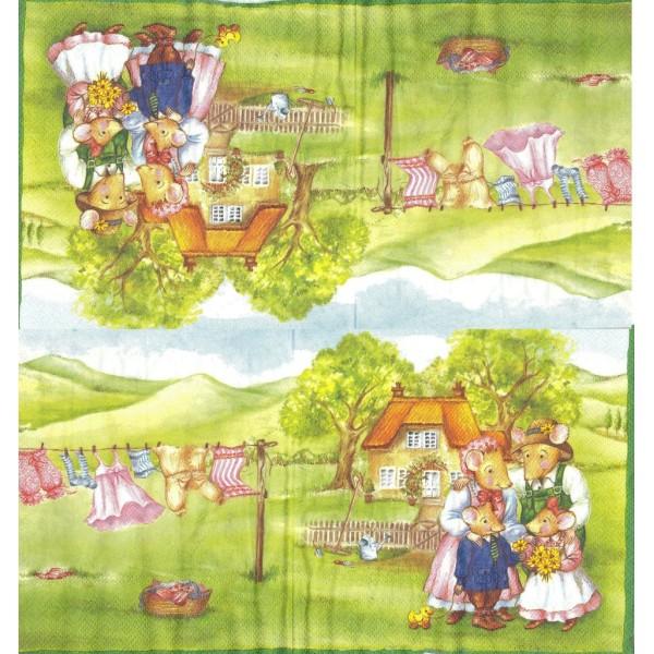 4 Serviettes en papier Famille Mousebergs à la Maison Format Lunch Decoupage Decopatch M-L-0129 IHR - Photo n°2