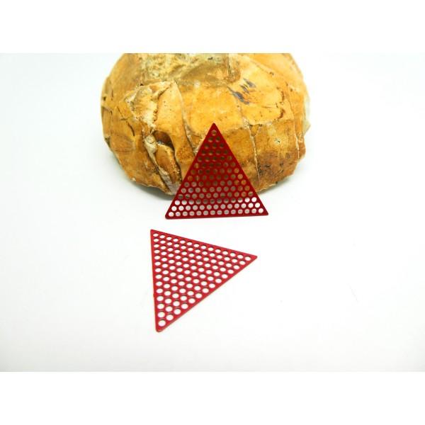 4 Estampes filigranées Triangle alvéolé 20mm Rouge - Photo n°1