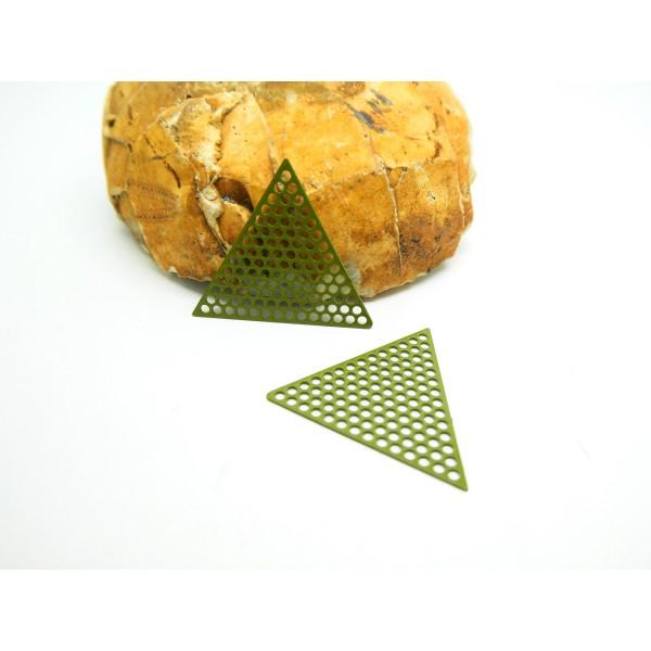 4 Estampes filigranées Triangle alvéolé 20mm Vert Kaki (LES48) - Photo n°1