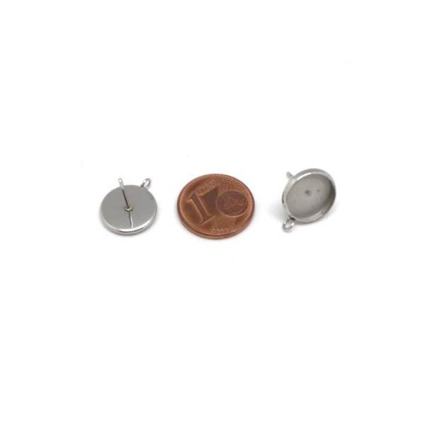 4 Supports Boucles D'oreilles Pour Cabochon De 10mm En Acier Inoxydable - Photo n°2
