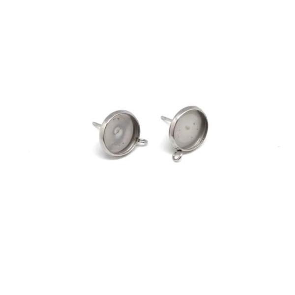 4 Supports Boucles D'oreilles Pour Cabochon De 10mm En Acier Inoxydable - Photo n°3