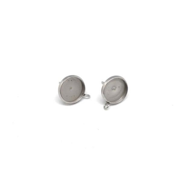 4 Supports Boucles D'oreilles Pour Cabochon De 10mm En Acier Inoxydable - Photo n°4