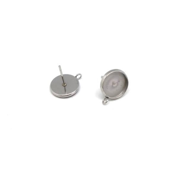 4 Supports Boucles D'oreilles Pour Cabochon De 10mm En Acier Inoxydable - Photo n°5
