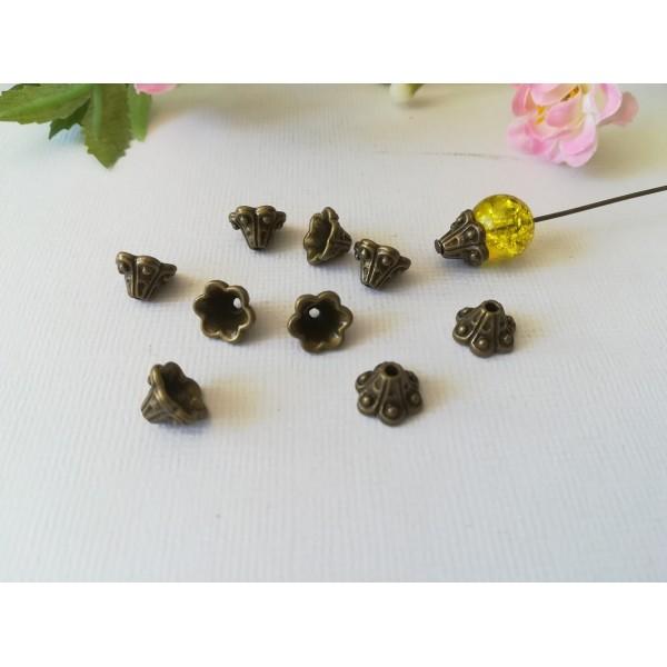 Coupelles fleur cône 8 mm bronze x 20 - Photo n°1