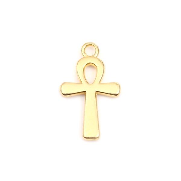 PS110248735 PAX 25 pendentifs Croix Egyptienne Ankh 22mm Metal couleur Doré - Photo n°1
