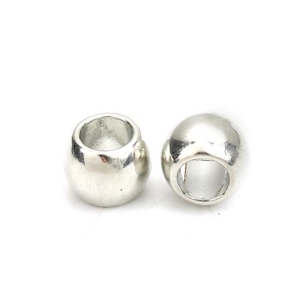 PS110125690 PAX 50 perles intercalaires 7mm trou 4mm metal couleur Argent Platine - Photo n°3