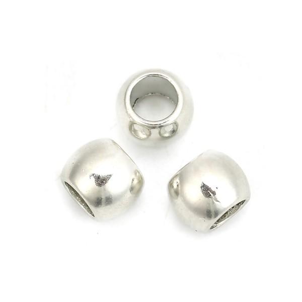 PS110125690 PAX 50 perles intercalaires 7mm trou 4mm metal couleur Argent Platine - Photo n°1