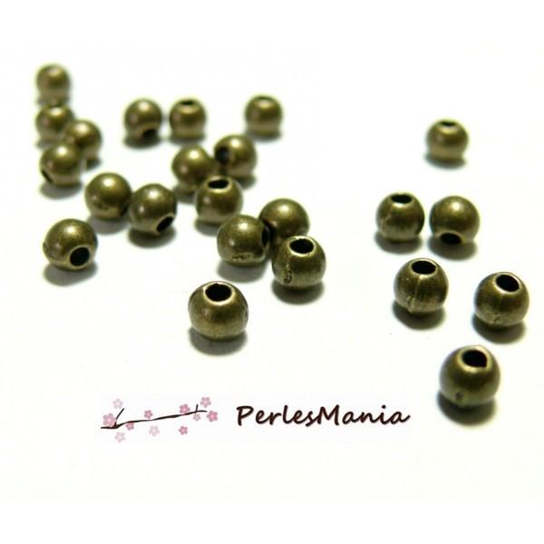 PS111092 PAX 500 perles METAL intercalaires rondes lisse 3mm métal couleur BRONZE - Photo n°1