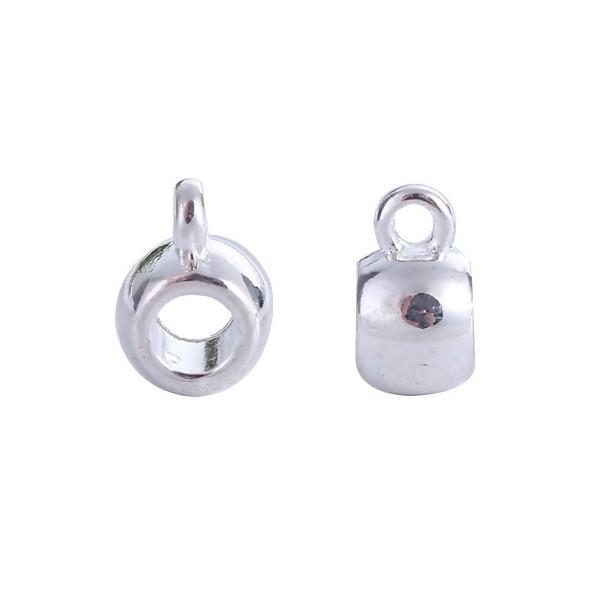 PS110100519 PAX 25 bélières Cylindrique Lisse métal couleur Argent Vif - Photo n°1