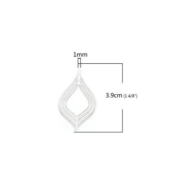 PS110206600 PAX 5 Estampes pendentif filigrane Feuille Goutte couleur Argent Platine de 39mm - Photo n°2