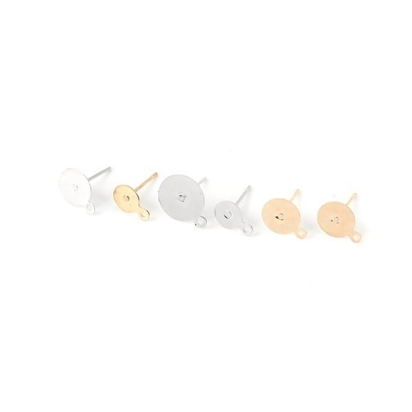 PS110120213 PAX 40 Supports de Boucle d'oreille Puce clou avec attache 6mm métal couleur Doré - Photo n°2