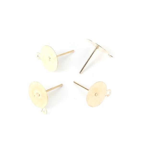 PS110120213 PAX 40 Supports de Boucle d'oreille Puce clou avec attache 6mm métal couleur Doré - Photo n°1