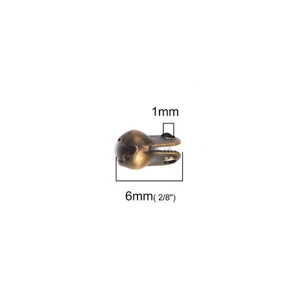 PS110201092 PAX 200 Embouts Fermoirs à plier Cache Noeud couleur Bronze pour chaine bille 2 et 2.4mm - Photo n°2