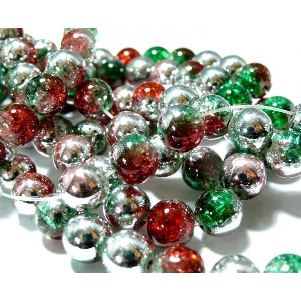 1 fil de 45 perles de verre craquelé 10mm ref PKL313 tricolore vert rouge argent - Photo n°1