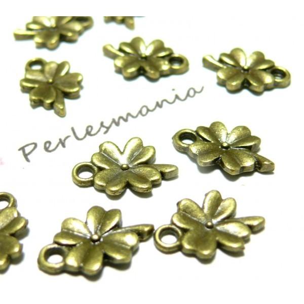 Lot de 50 pendentifs Fleur, Trèfle métal couleur BRONZE 2A8209 - Photo n°1