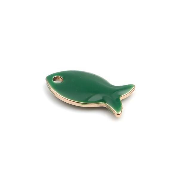 PS110250608 PAX 5 pendentifs Poisson Vert style emaillé 14 mm metal couleur Doré - Photo n°2