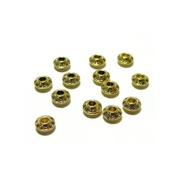 H725 PAX 50 pendentifs perles intercalaire Toupie Ethnique 6.5mm métal couleur Or Antique - Photo n°1