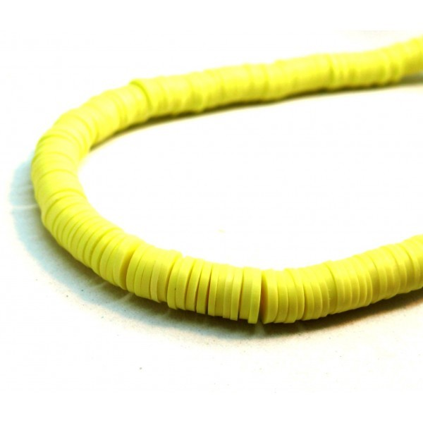 H0674 Lot 1 fil d'environ 380 Perles rondelles Heishi en pâte polymère 4 par 1mm couleur 22 - Photo n°1