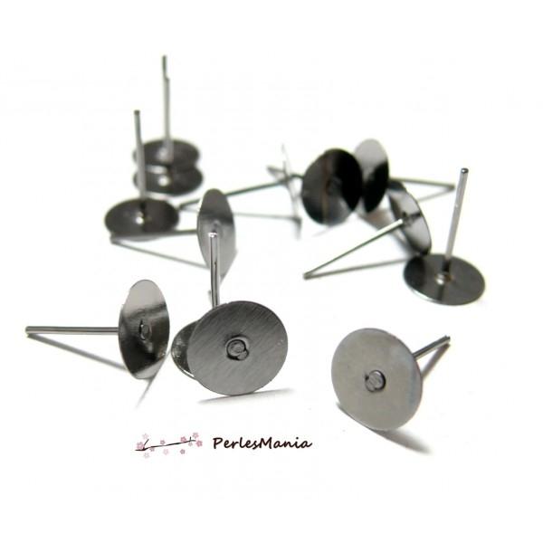 HC2899 PAX 100 Supports de Boucle d'oreille clou puce 6mm Qualité EXTRA Gun Metal - Photo n°1