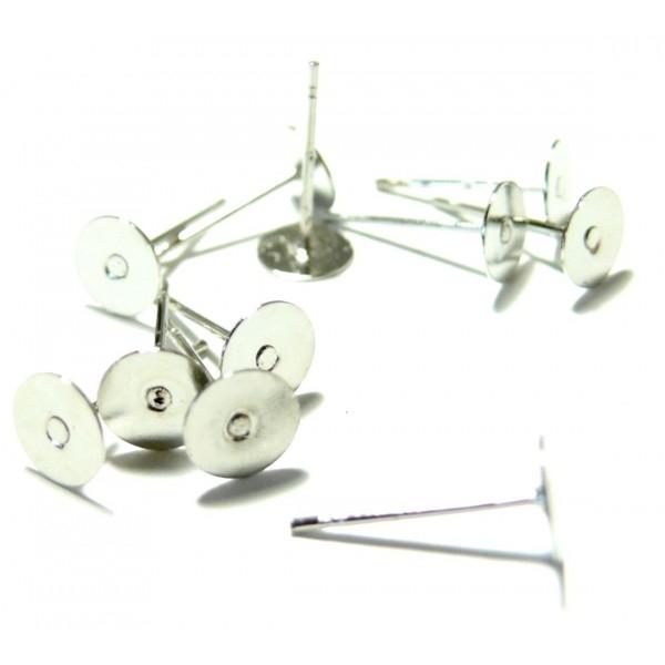 HC2899 PAX 100 Supports de Boucle d'oreille clou puce 6mm Qualité EXTRA Argent Vif - Photo n°1