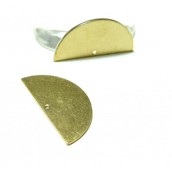 PS110100119 PAX 5 pendentifs Demi Cercle Doré Brut Qualité Cuivre - Photo n°1