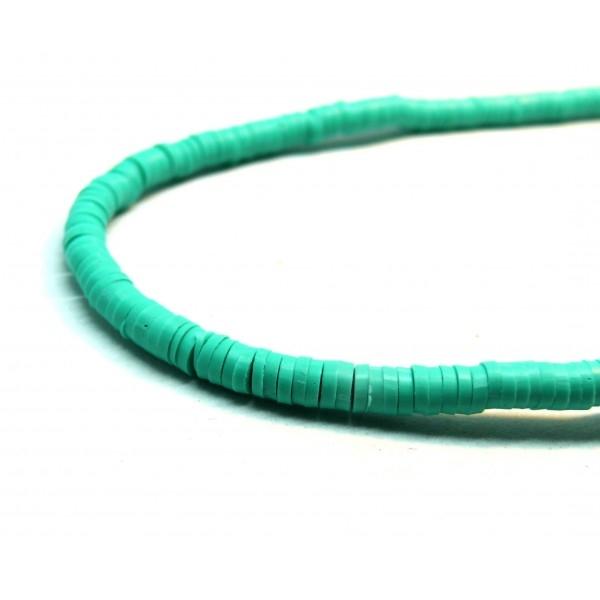 H0678 Lot 1 fil d'environ 380 Perles rondelles Heishi en pâte polymère 8 par 1mm couleur 34 - Photo n°1