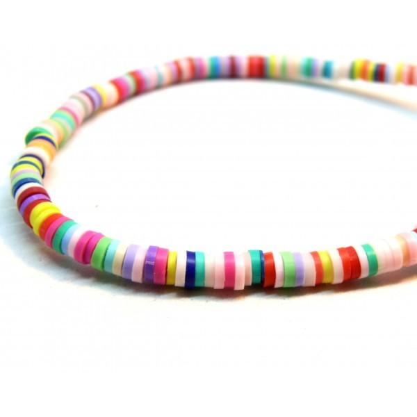 H0678 Lot 1 fil d'environ 380 Perles rondelles Heishi en pâte polymère 8 par 1mm couleur M1 - Photo n°1