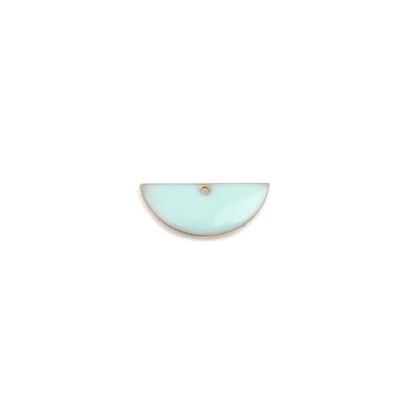 PS110238219 PAX 5 sequins médaillons résine style émaillés Biface Demi Cercle Bleu Pastel 18 par 8mm - Photo n°1