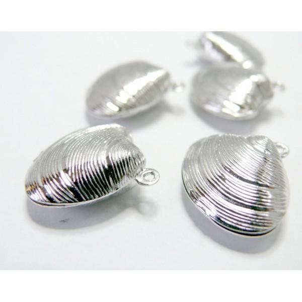 Lot de 6 pendentifs pendentifs, breloques Coquillage 3D métal couleur Argent Platine - Photo n°1