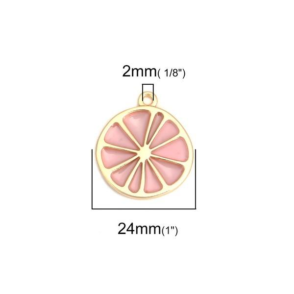 PS110200682 PAX 4 pendentifs Tranche Pamplemousse Rose métal doré - Photo n°2