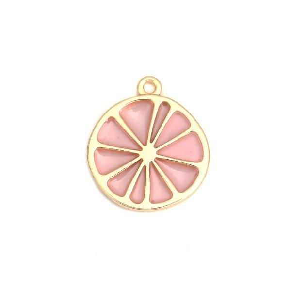 PS110200682 PAX 4 pendentifs Tranche Pamplemousse Rose métal doré - Photo n°1