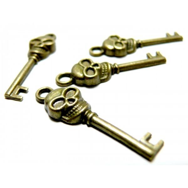 Lot de 20 pendentifs breloque pendentif Clé , Tete de mort, crane métal couleur Bronze - Photo n°1