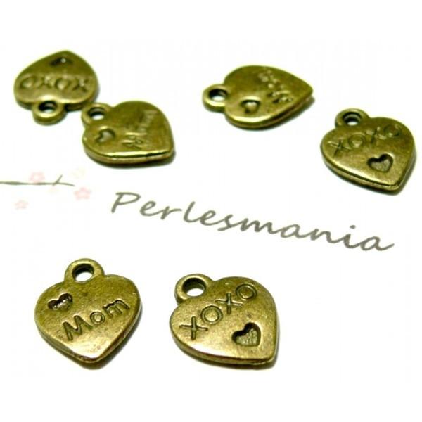Lot de 20 pendentifs petits Coeurs Love MOM métal couleur Bronze P19566 - Photo n°1
