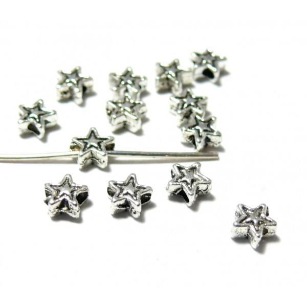 S1100393 PAX 200 perles intercalaires Etoiles 4mm metal couleur Argent Antique - Photo n°1