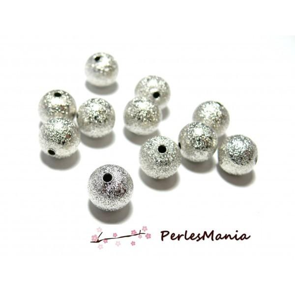 PAX 20 perles intercalaires Rondes Stardust 8mm métal couleur ARGENT VIF - Photo n°1