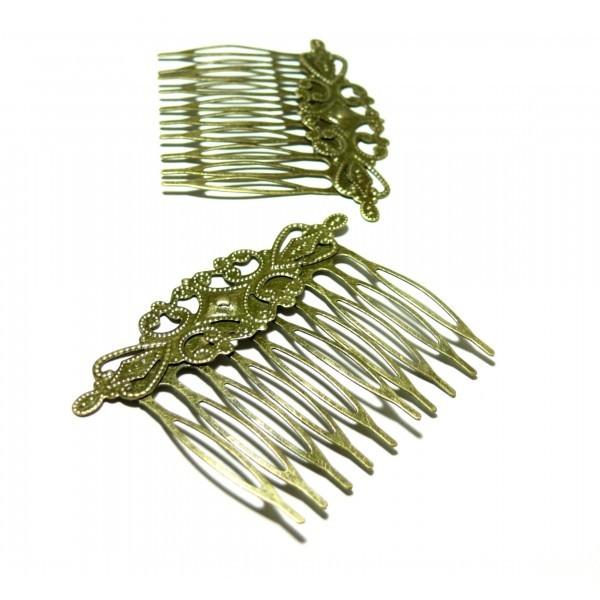 PS115060 PAX 5 peigne barrette filigrane RETRO métal couleur Bronze volutes 6.5 x 4.6 cm - Photo n°1