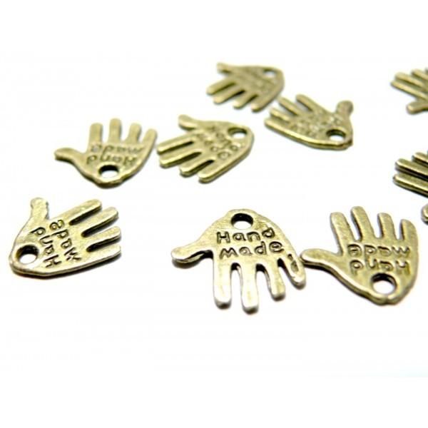 50 Pendentifs, breloques hand made fait main métal couleur Bronze 2B2568 - Photo n°1