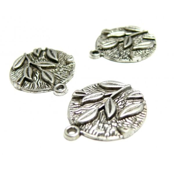 Lot de 20 pendentifs belles feuilles 2Y8617 métal couleur Argent Antique - Photo n°1