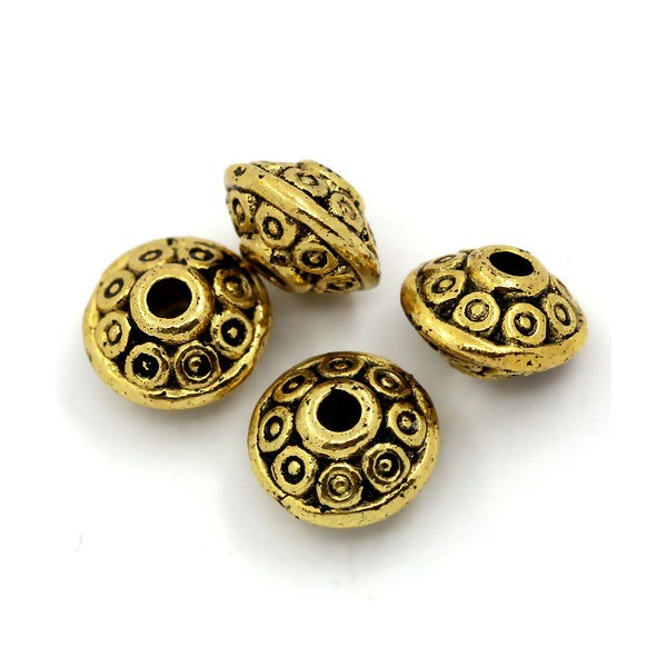 PS1125103 PAX 50 perles intercalaires rondelles 6,5mm metal couleur Or Antique - Photo n°1